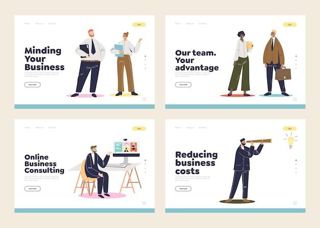 Set di pagine di destinazione con consulenza aziendale e strategia del concetto di sviluppo e cooperazione tra uomini d'affari dei cartoni animati.
