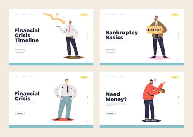 Set di pagine di destinazione con il concetto di fallimento, povertà e perdita di denaro. uomini d'affari del fumetto con crisi aziendale, fallimento finanziario e diminuzione