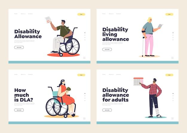 Set di pagine di destinazione con persone disabili e concetto di indennità di soggiorno per disabilità. handicappati maschi e femmine e sostegno finanziario.