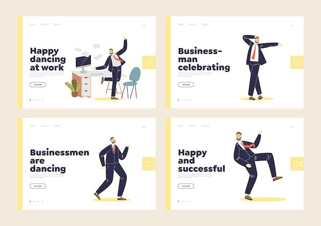 Set di pagine di destinazione con uomo d'affari felice e di successo che balla tifo per la vittoria.