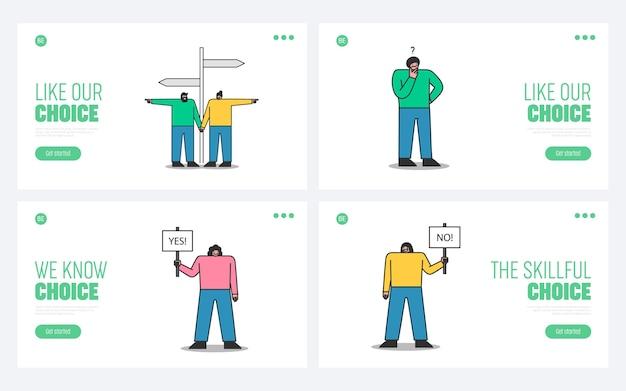 Set di pagine di destinazione con scelte di persone. personaggi dei cartoni animati che prendono decisioni, scelgono e pensano