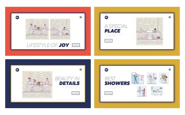 Set di pagine di destinazione con persone che si rilassano nella sauna o banya godono di procedure termali