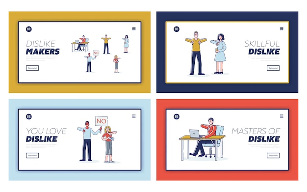 Insieme di pagine di destinazione con persone che mostrano disapprovazione. personaggi dei cartoni animati che mostrano i pollici verso il basso e feedback o reclami negativi