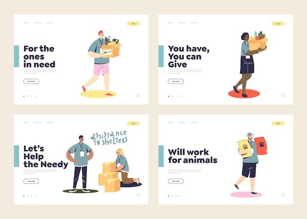 Set di pagine di destinazione con volontari che fanno donazioni