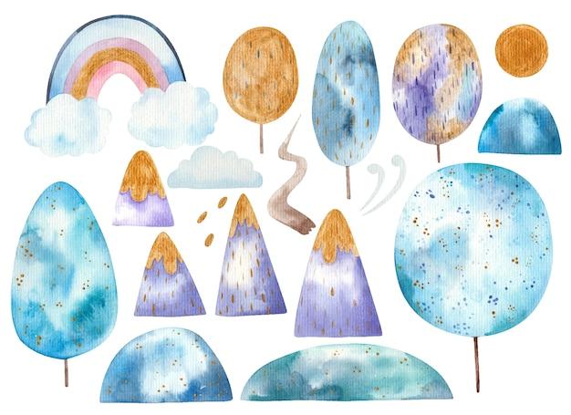 Insieme di elementi del paesaggio, alberi, arcobaleno su nuvole, montagne, sole, vento, percorso.