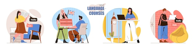 Impostare l'illustrazione del concetto di design piatto del corso di lingua dei personaggi delle persone