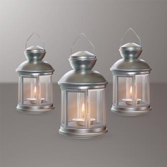 Set di lanterne. lanterne metalliche realistiche 3d