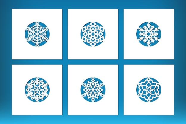 Set di cartolina di natale tagliata al laser