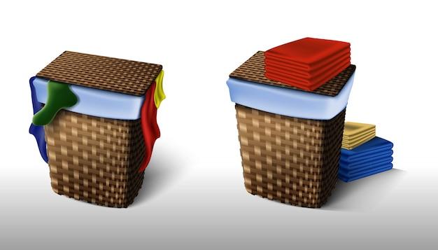 Set di servizio di lavanderia, cesto della biancheria pieno di abbigliamento sporco e con abiti ordinati e puliti.