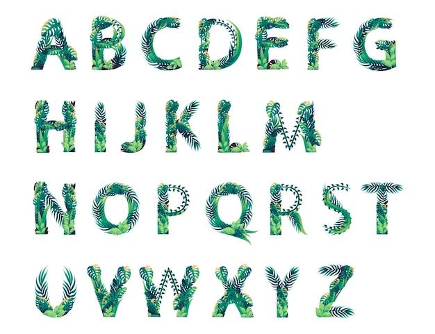 Set di alfabeto foglia con diversi tipi di foglie verdi e fogliame piatto illustrazione vettoriale isolato su sfondo bianco.