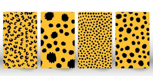 Set di stampa leopardo. pelle di pantera. modello in tessuto retrò. trama di pelliccia maculata. leopardo con stampa animalier.