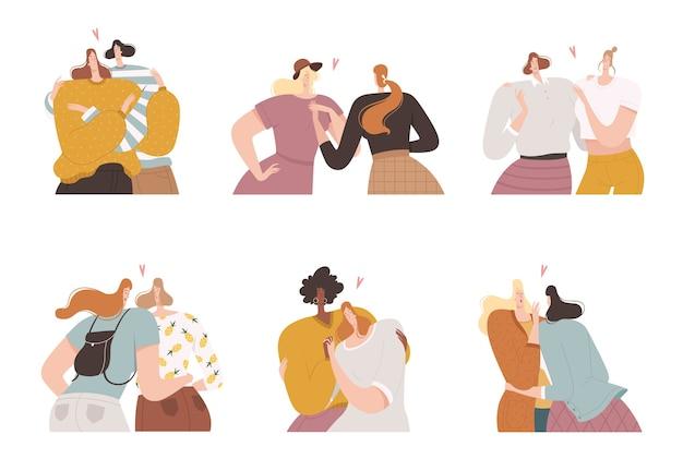 Set di ragazze lesbiche in relazioni romantiche in coppia. minoranze sessuali e amore delle donne