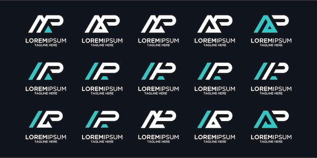 Set lettera p logo design monogramma vettore