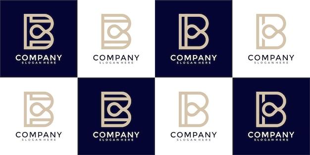 Set di modello di progettazione logo monogramma lettera b letter