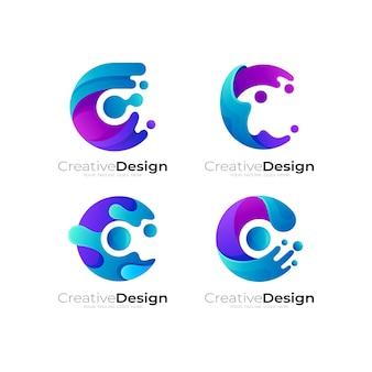 Imposta il logo dell'acqua della lettera c, icona di stile colorato