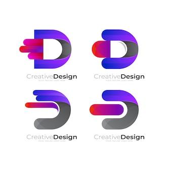 Imposta il logo della lettera d con il vettore di design combinato