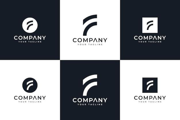 Set di design creativo con logo lettera f per tutti gli usi
