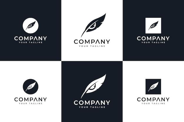 Set di lettere piume occhi logo design creativo per tutti gli usi