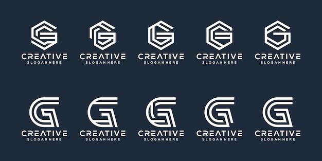 Set di design del logo della lettera g