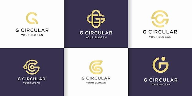 Set di lettera g mono line con concetto circolare