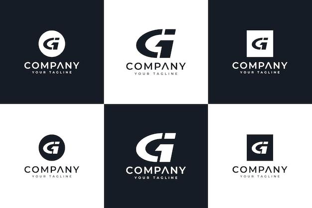 Set di design creativo con logo lettera gi per tutti gli usi