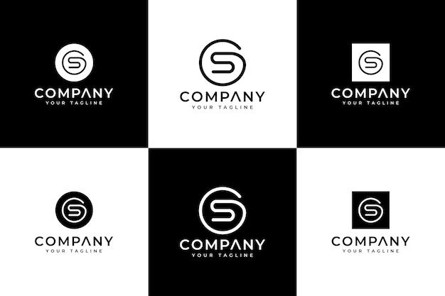 Set di design creativo con logo lettera gs per tutti gli usi