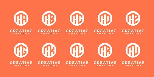 Set di lettere h ed ecc. collezione di logo con concept creativo