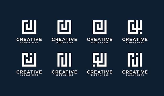 Set di lettera j logo in stile quadrato