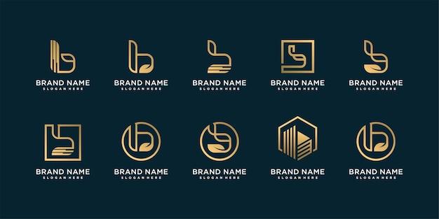 Set di raccolta di lettere logo con iniziale b per società con concept creativo