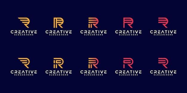 Insieme della raccolta di logo della lettera con il concetto di arte della linea r iniziale