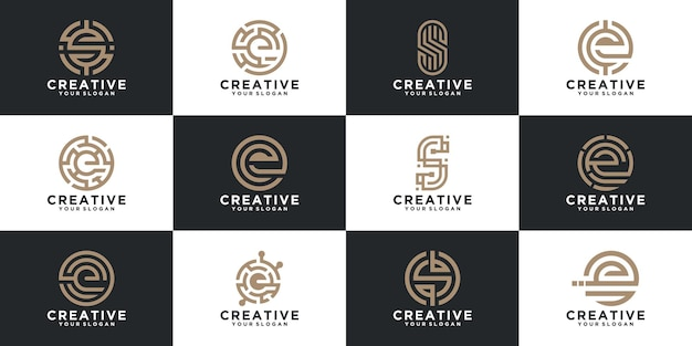 Set di raccolta di lettere logo con stile di linea per consulenza, iniziali, società finanziarie