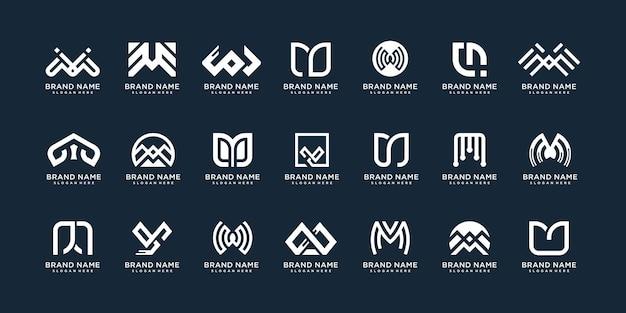 Set di lettere logo m con concetto astratto creativo vettore premium