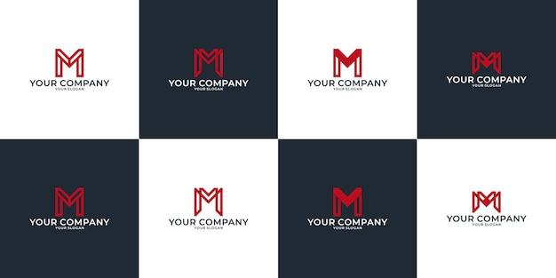Set di modello di progettazione del logo dell'idea creativa della lettera m