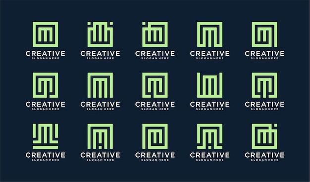 Set di lettera m logo in stile quadrato
