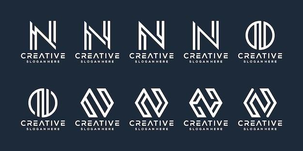 Set di design del logo della lettera n