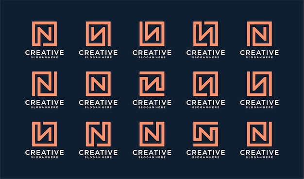 Set di lettera n logo in stile quadrato