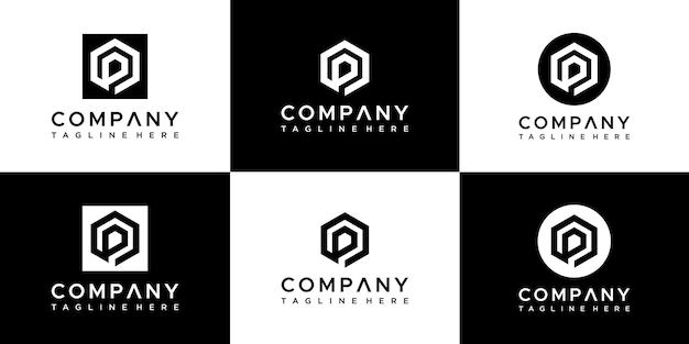 Set di modello di progettazione di logo di lettera p