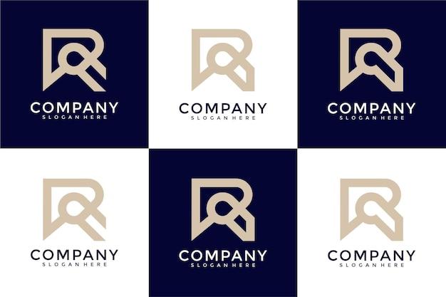 Set di modello di progettazione logo monogramma lettera r