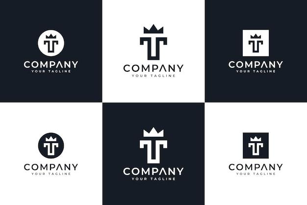 Set di design creativo del logo della corona della lettera t per tutti gli usi
