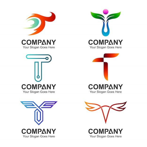 Set di modello di lettera t logo