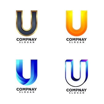 Set di modelli di progettazione di lettera u.