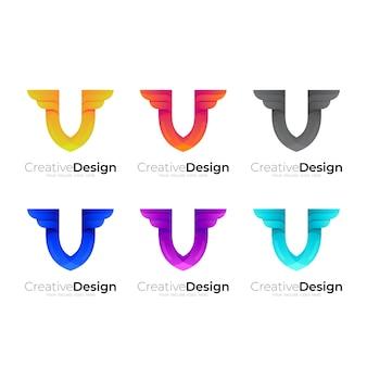 Imposta la combinazione del logo della lettera v e del design dell'ala