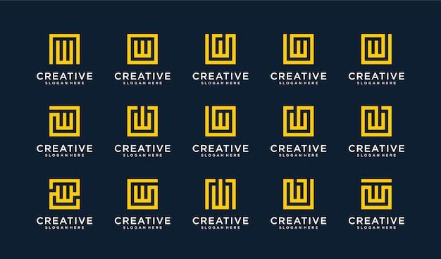 Set di lettera w logo in stile cerchio