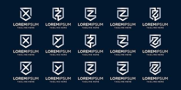 Set di monogramma lettera xz e combinazione di segno di scudo
