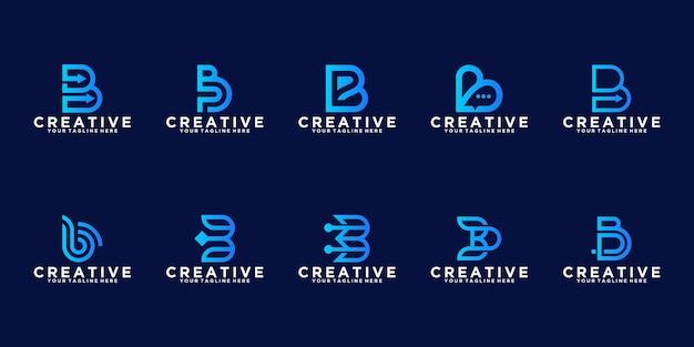 Set di lettere b dati tecnologici. collezione logo monogramma