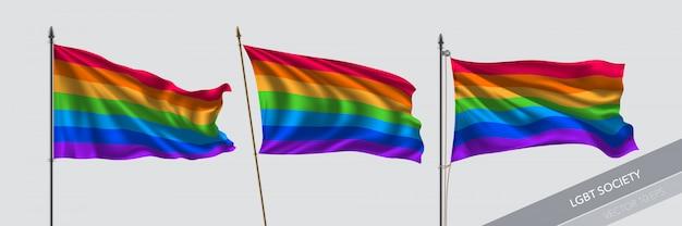 Insieme dell'illustrazione delle bandiere d'ondeggiamento di lgbt