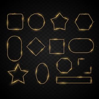 Set di cornici di luce, sfondo dorato astratto effetto luce trasparente, oggetti luminosi astratti