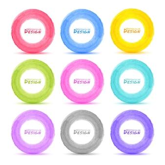 Set di cerchi colorati acquerello disegnati a mano luce