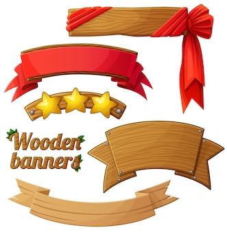 Set di banner in legno chiaro