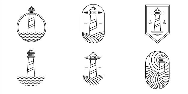 Insieme di disegno dell'illustrazione di simbolo di vettore di logo di arte di linea del faro,